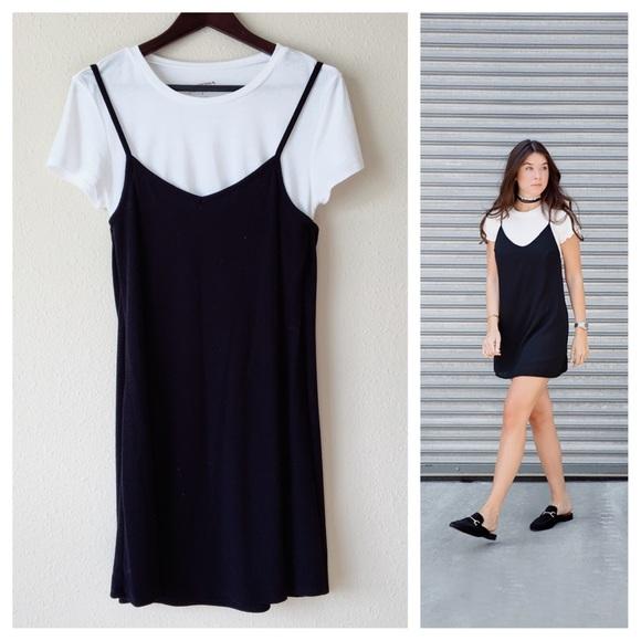 05296333b4aa Arizona Jean Company Dresses & Skirts - Grunge Black and White T-Shirt Slip  Dress